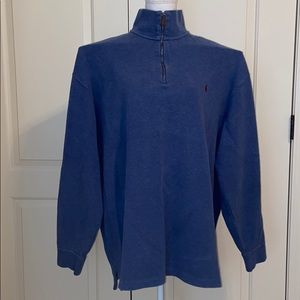 Men's Heather Blue Tall Long Sleeve Polo Pullover